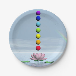 Chakras and rainbow - 3D render Paper Plate