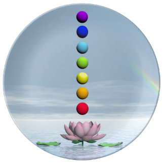Chakras and rainbow - 3D render Plate