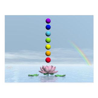 Chakras and rainbow - 3D render Postcard