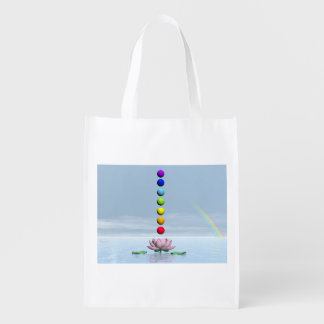 Chakras and rainbow - 3D render Reusable Grocery Bag