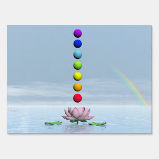 Chakras and rainbow - 3D render Sign