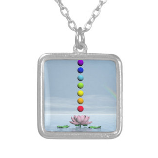 Chakras and rainbow - 3D render Silver Plated Necklace