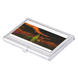 chakras and sky black and orange business card holder
