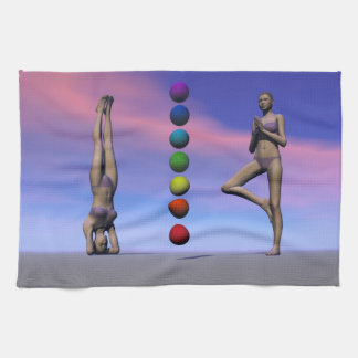 chakras and yoga and sky kitchen towels