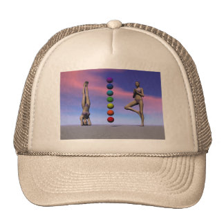 chakras and yoga and sky trucker hat
