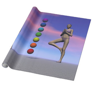 chakras and yoga and sky wrapping paper