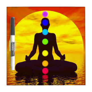 Chakras at sunset - 3D render Dry Erase Board