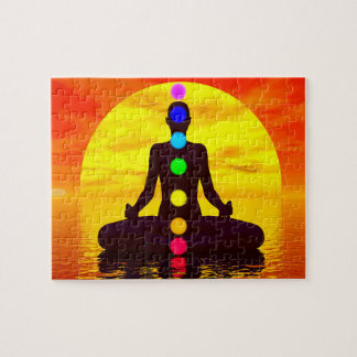 Chakras at sunset - 3D render Jigsaw Puzzle