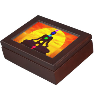 Chakras at sunset - 3D render Keepsake Box