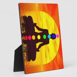 Chakras at sunset - 3D render Plaque