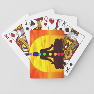 Chakras at sunset - 3D render Playing Cards