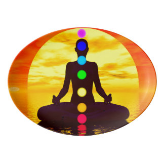 Chakras at sunset - 3D render Porcelain Serving Platter