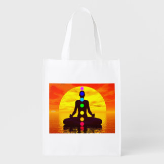 Chakras at sunset - 3D render Reusable Grocery Bag