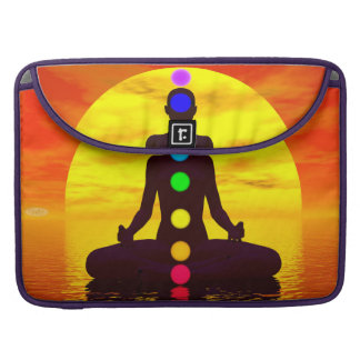 Chakras at sunset - 3D render Sleeve For MacBooks