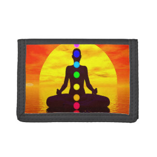 Chakras at sunset - 3D render Trifold Wallet