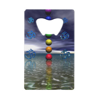 chakras blue and white credit card bottle opener