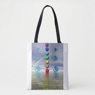 chakras blue tote bag