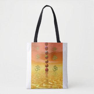 chakras orange tote bag