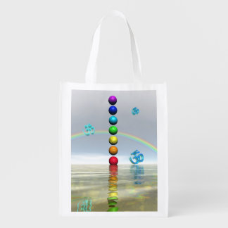 chakras white reusable grocery bag
