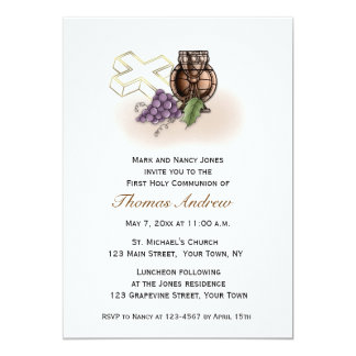Chalice, Cross, Grapes Communion Invitation