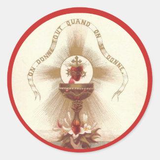 Chalice Cross Roses Host Communion Jesus Altar Classic Round Sticker