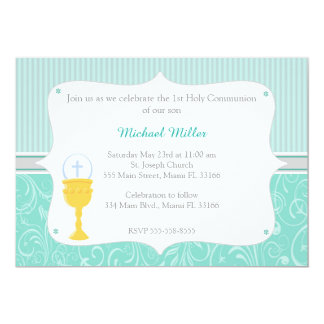 Chalice Turquoise First Holy Communion Invitation