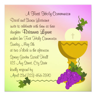 Chalis and Grapes 1st Communion Card