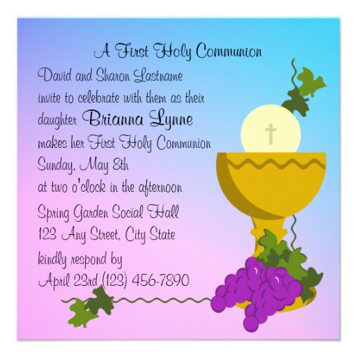 Chalis and Grapes 1st Communion Custom Announcement