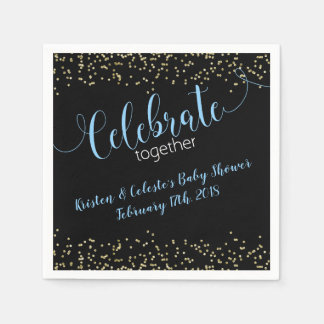 Chalk Baby Boy Blue Gold joint friends celebration Paper Napkin