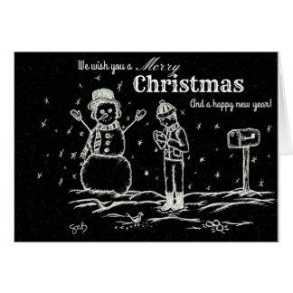 Chalk Board Christmas Sketch Card