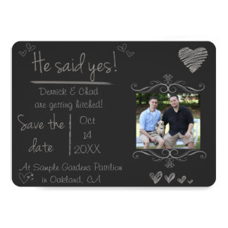 Chalk Board Save the Date, He Said Yes Card