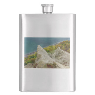 Chalk cliffs on the island Ruegen Hip Flask