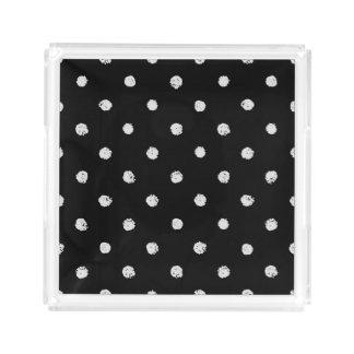Chalk dot classic black and white pattern acrylic tray