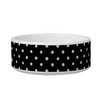 Chalk dot classic black and white pattern cat bowl
