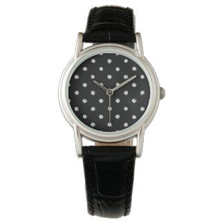 Chalk dot classic black and white pattern watch