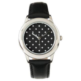 Chalk dot classic black and white pattern wrist watch