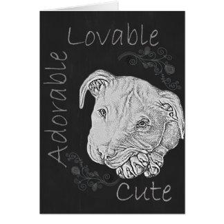 Chalk Drawing of Adorable Pitbull Greeting Card