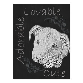Chalk Drawing of Adorable Pitbull Postcards