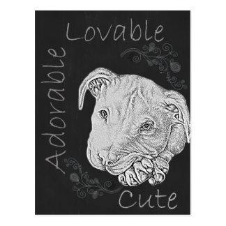 Chalk Drawing of Adorable Pitbull Postcard