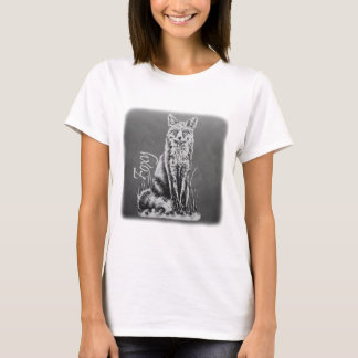 Chalk Drawing of Fox Animal Art on Chalkboard T-Shirt