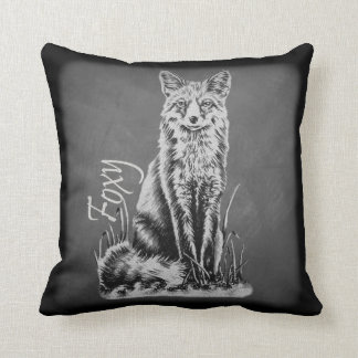 Chalk Drawing of Fox Animal Art on Chalkboard Throw Pillow
