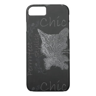 Chalk Drawing of Sleepy Cat on Phone Case
