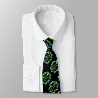 Chalk Drawn Merry and Bright with Lights Tie