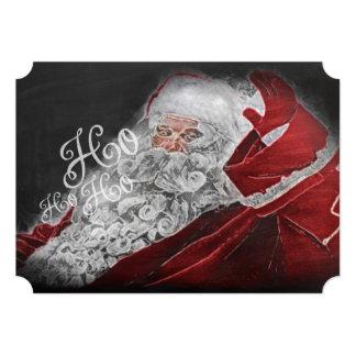 Chalk Drawn Santa Ho Ho Ho Holiday Card