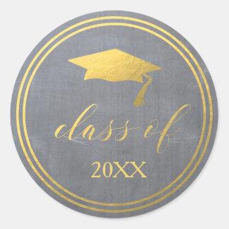 Chalk & Faux Gold Foil   Graduation Envelope Seal Round Sticker