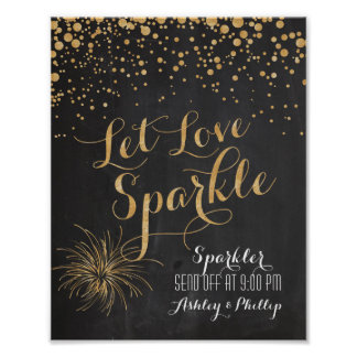 Chalk Glitter Let Love Sparkle, Sparkler Send off Poster