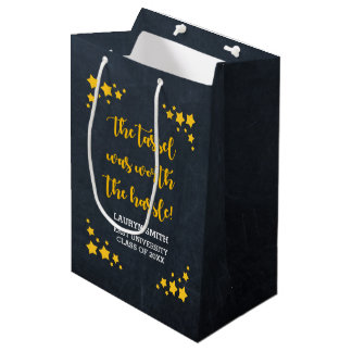 Chalk Gold Star Personalized Graduation Medium Gift Bag