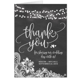 Chalk Hanging Lights & Lace Wedding Thank You Card
