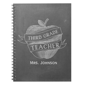Chalk Inspired Apple 3rd Grade Teacher Notebook