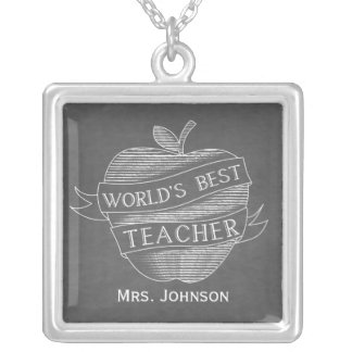 Chalk Inspired Apple World's Best Teacher Necklace